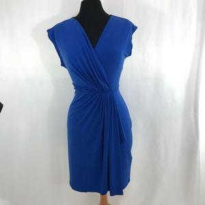 Michael Kors Blue Midi Faux Wrap Dress